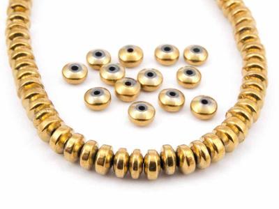 Hematit zlatý, rondelky 2x4, korálky Hm104