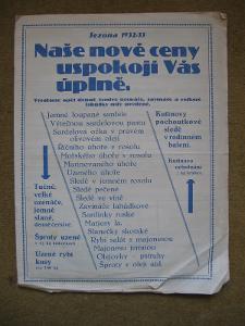 Kutinovy uzenáče a rybí konzervy - starý katalog z let 1932 - 1933