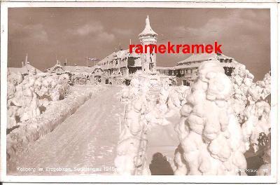 Klínovec zimní rozhledna fotopohled. (Jáchymov Karlocy Vary Boží Dar)