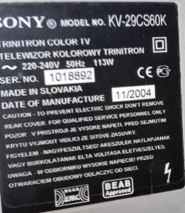 TOP stříbrošedá Sony KV29CS60K Trinitron 100Hz Made in Slovakia