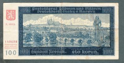 100 korun 1940 serie GB !!! NEPERFOROVANA
