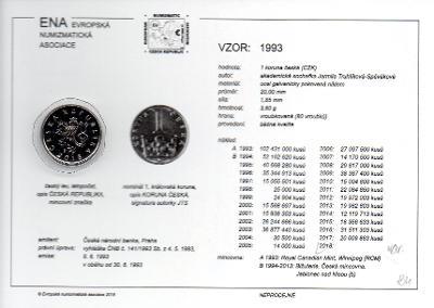 1 Kč 1993 XF s kartou ENA (c) 2017