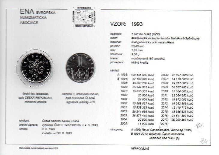 1 Kč 2000 XF s kartou ENA (c) 2017 - Numismatika