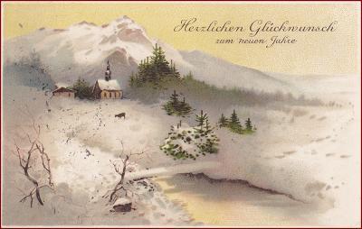 Nový rok * srnka, kostel, hory, zimní krajina, gratulační * M6515