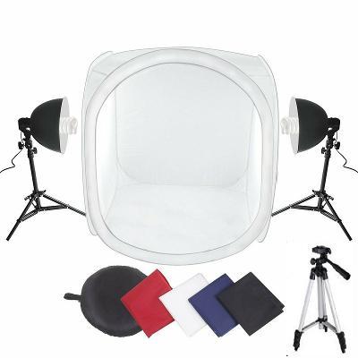 Fotostan 100x100x100cm, 4 pozadí, 2x lampa 85W, fotografický 3D stativ