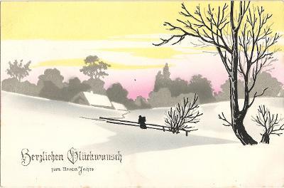 Zasněžená zimní krajina - Srdečné přání k  Novému roku