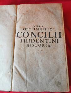 Stará kniha Concilii Tridentini LP. 1719 v kožené vazbě...(8639)