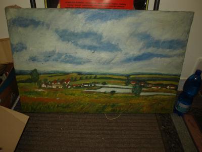 olej na plátně pohled na vesnici