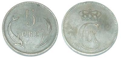 Dánsko 5 O 1891