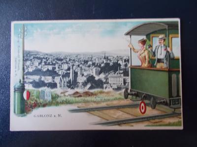 Jablonec n Nisou  Gablonz Sbírková koláž tlačená vlak vagon železnice