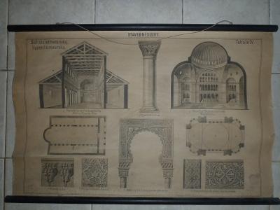 Školní plakát architektura - Byzantský a maurský sloh