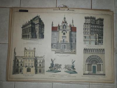 Školní plakát architektura - České stavby moderní