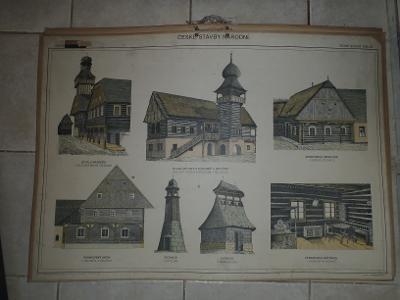 Školní plakát architektura - České stavby národní II