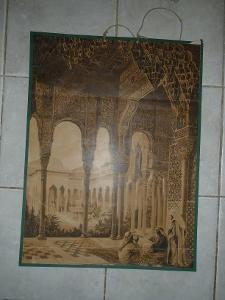 Školní plakát architektura Chrám litografie