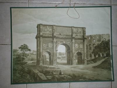 Školní plakát architektura Konstantinův vítězný oblouk v Římě (Itálie)