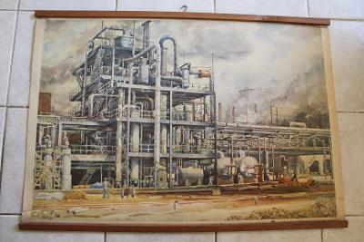 Školní plakát industrial Stalinovy závody, Chemička Litvínov