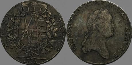 NĚMECKO SAXONIE 1 tolar 1775 Fridrich August kopie *540