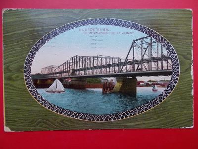 Pohlednice lístek USA  Amerika New York Hudson River most přes řeku