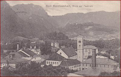 Bad Reichenhall * St. Pankratz, kostel, hory, Alpy * Německo * Z2277