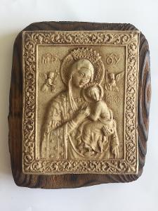 Krásná, Svatá Ikona - Keramický Reliéf na Ohořelém Dřevě - SUPER !!!