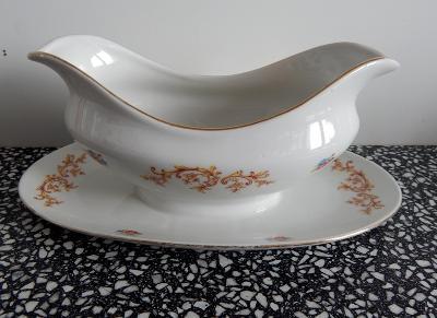 Starý, květinami a zlatem zdobený omáčník - Božíčany  ( 1950 - 1960 )