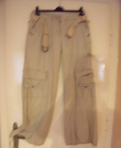 béžové kalhoty cargo kapsáče Spot 40