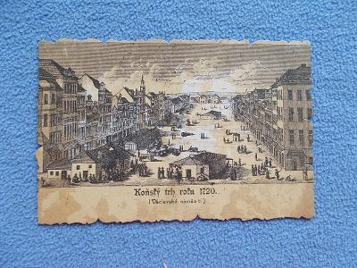 Praha rytina Koňský trh 1720 dnes Václavské náměstí