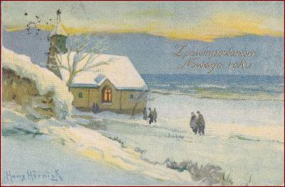 Nový rok * kostel, lidé, zimní krajina, gratulační * M6241