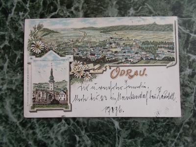 Nový Jičín Neu Titschein Odrau Odrau Litografie koláž 1897 !!! Perfekt