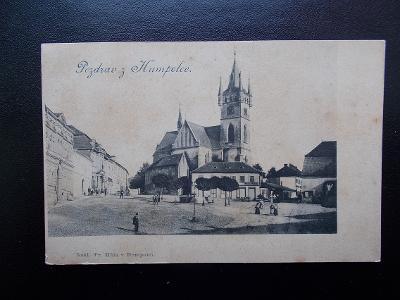Pohlednice Pelhřimov Humpolec kostel náměstí živá lidé
