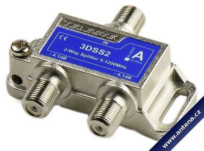 Teleste 3DSS2-B: rozbočovač na 2 TV, 5-1218 MHz,  -4.1dB v UHF