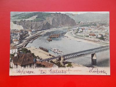 Ústí nad Labem Aussig přístav lodě remorkér parník železnice most DA