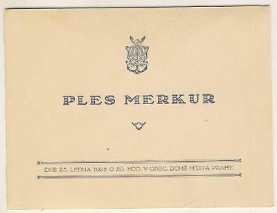 POZVÁNKA - PLES MERKUR - PRAHA - 1928