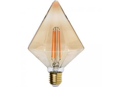 Designová žárovka ve tvaru diamantu, jantarová