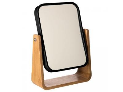 Černé zrcadlo stojící v bambusovém rámu, elegantní