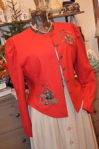 Krásné červené dobové sako vlněné vel. 44
