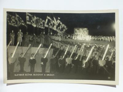 Praha - SOKOL SLET - Biografický odbor - SCÉNA BUDOVAT A CHRÁNIT 1938