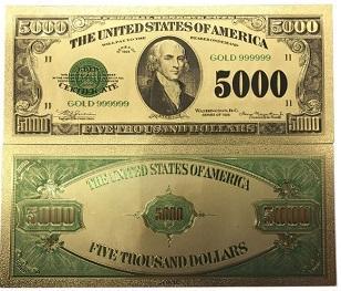 USA 5000$ dolarů 1928 dollars Zlatá bankovka fólie amerických