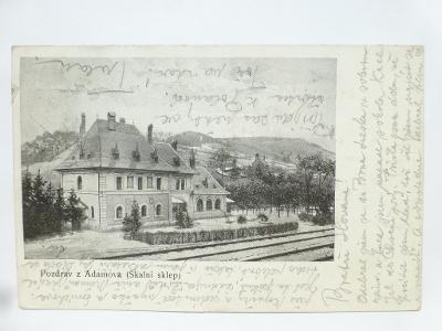 Adamov, Blansko, Brno - restaurace Skalní sklep - koleje 1906