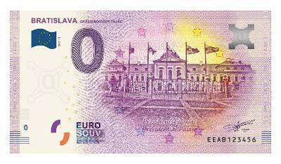 0 Euro souvenir bankovka BRATISLAVA 2019 - Grasalkovičov palác