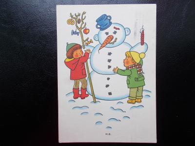 Svátek přání Helena Zmatlíková Vánoce zima Nový rok děti sněhulák