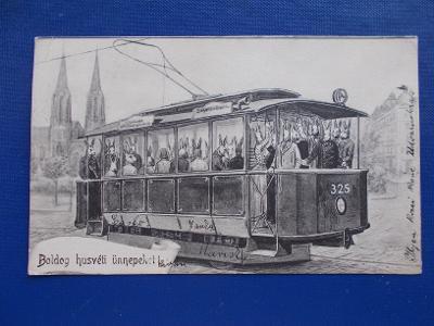 Pohlednice Slovensko Trnava Hlohovec Dvorníky žert tramvaj králík RAR