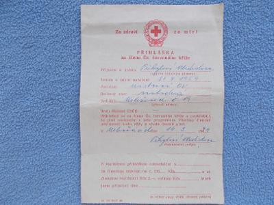 Propagace leták přihláška člen Červený kříž ČSR Vyškov Milešovice řád