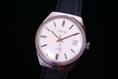 Pánské hodinky PRIM 68, bílý číselník, TOP STAV