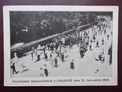 Jihlava Iglau Vysočina  1910 Protičeské demonstrace stávka policie