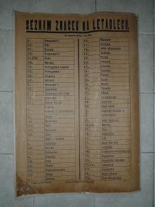Plakát - označení letadel světa 1935 , seznam značek , Letectví