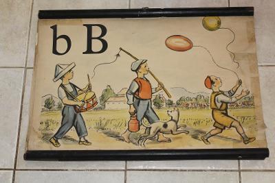 Školní plakát Abeceda,  B* , Balón 1953 -1955