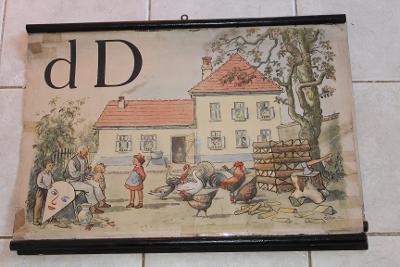 Školní plakát Abeceda,  D* , Dům 1953 -1955