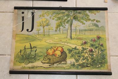 Školní plakát Abeceda, J*,Jan, Ježek , Jablko  1953 -1955