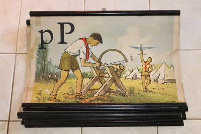 Školní plakát Abeceda, P* , Pionýr , Pila ,  1953 -1955